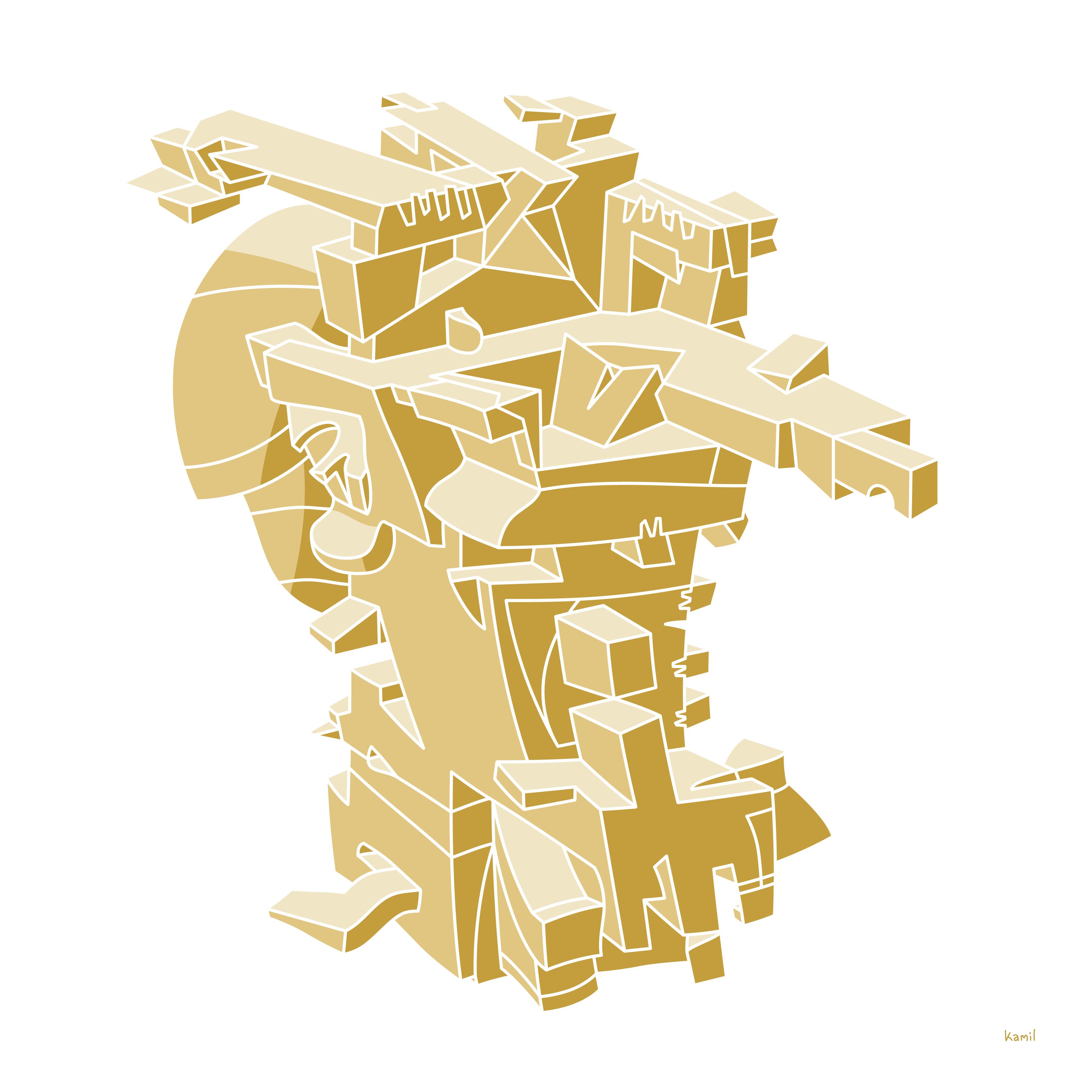 Illustration – Spatial Shapes – No. 6 (golden version)