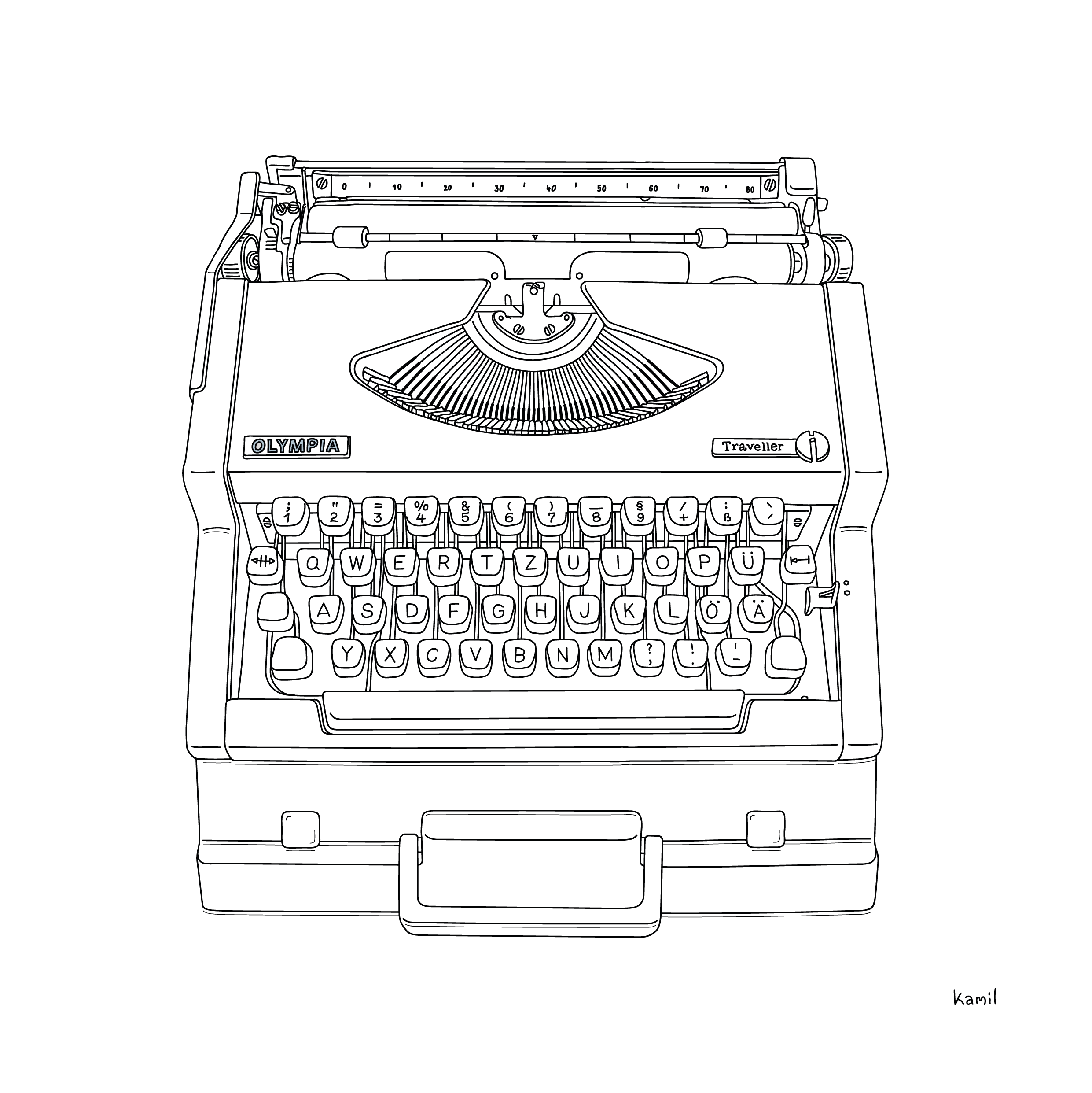 typewriter illustration in black outlines with case