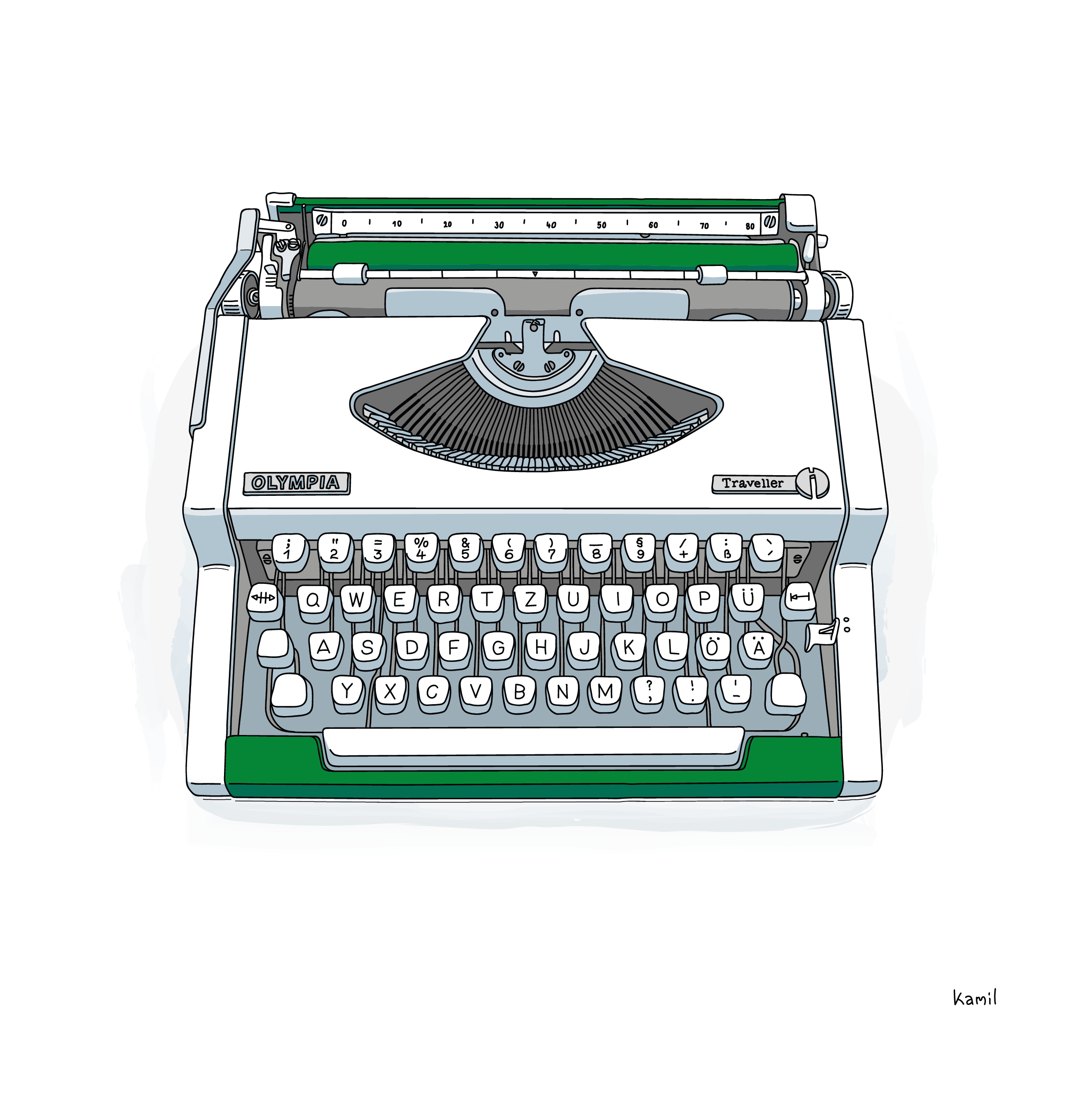 typewriter illustration in black outlines and colored