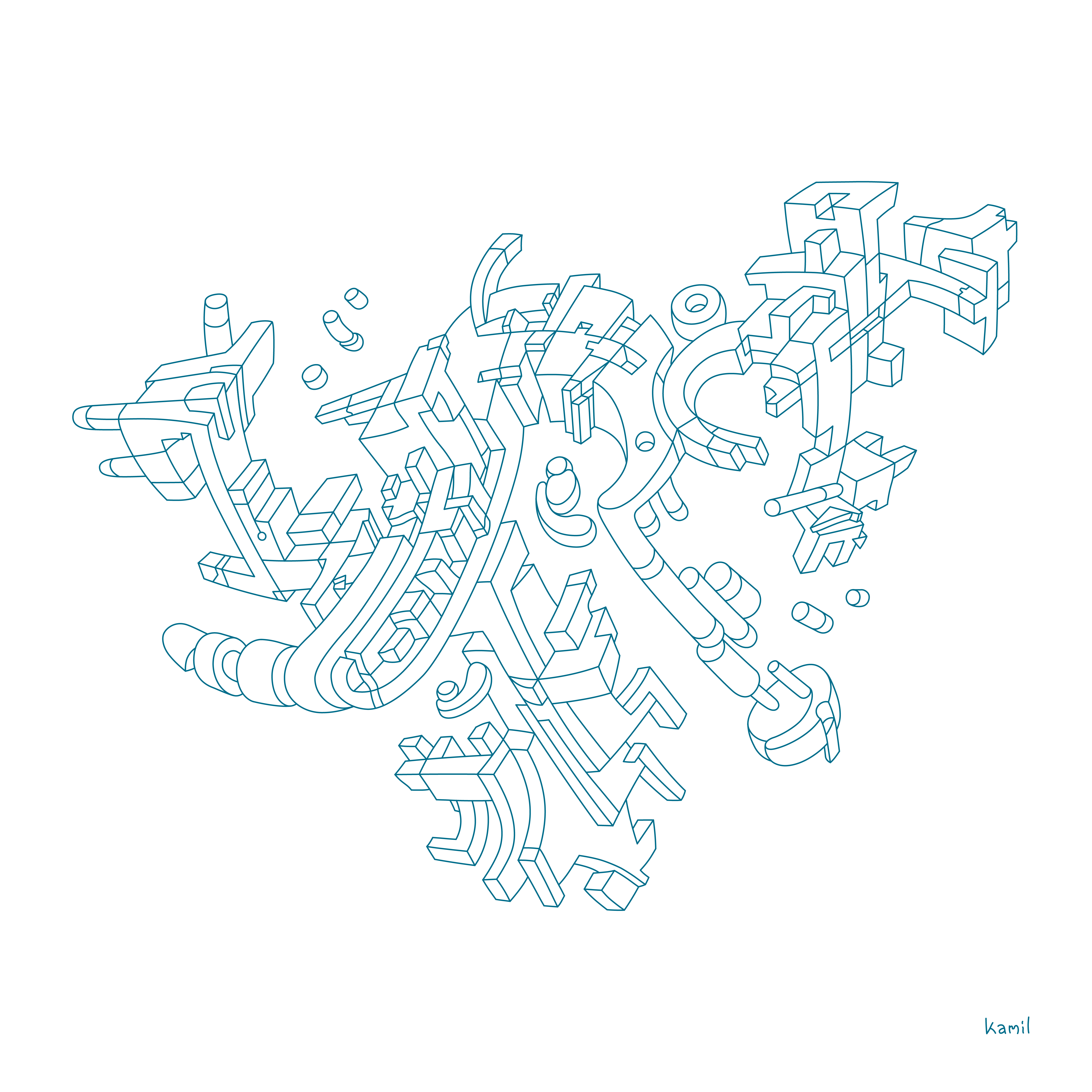 Illustration – Lines and Shapes in Relation No. 1 – Abstract Dynamic Study (outline version)