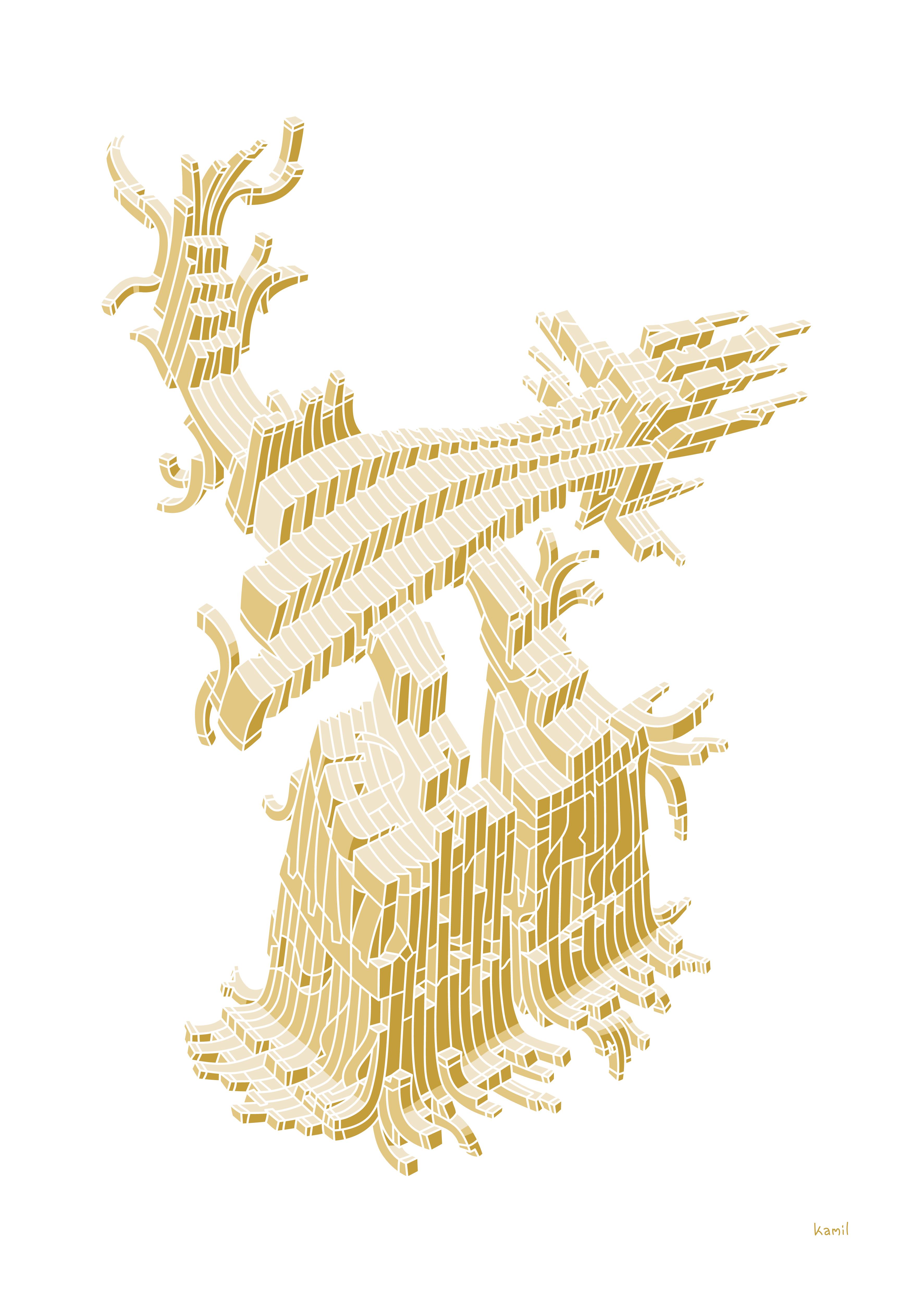Illustration – Spatial Shapes – No. 5 (golden version)