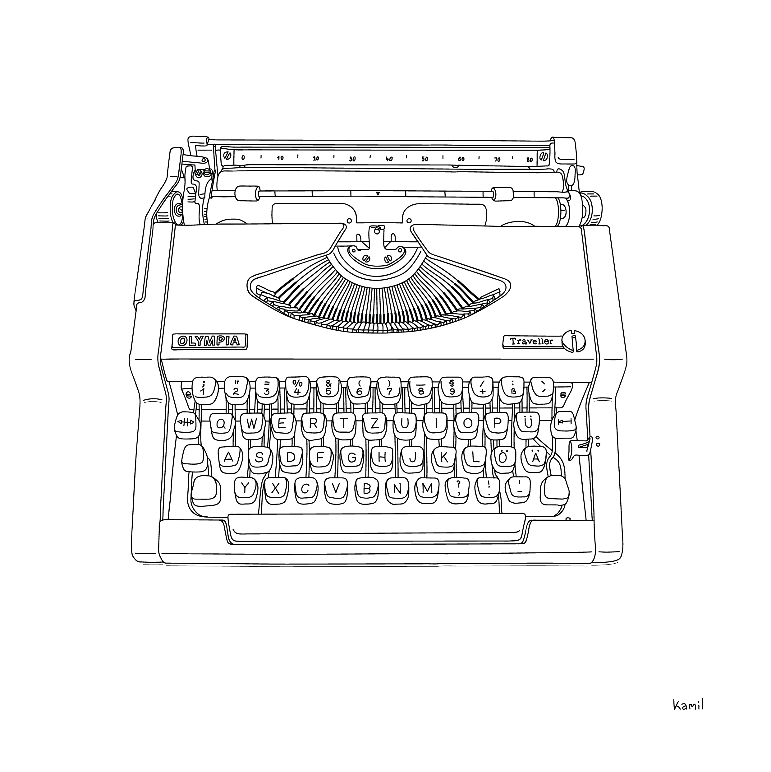 Illustration – Objects – Olympia Typewriter 3/4