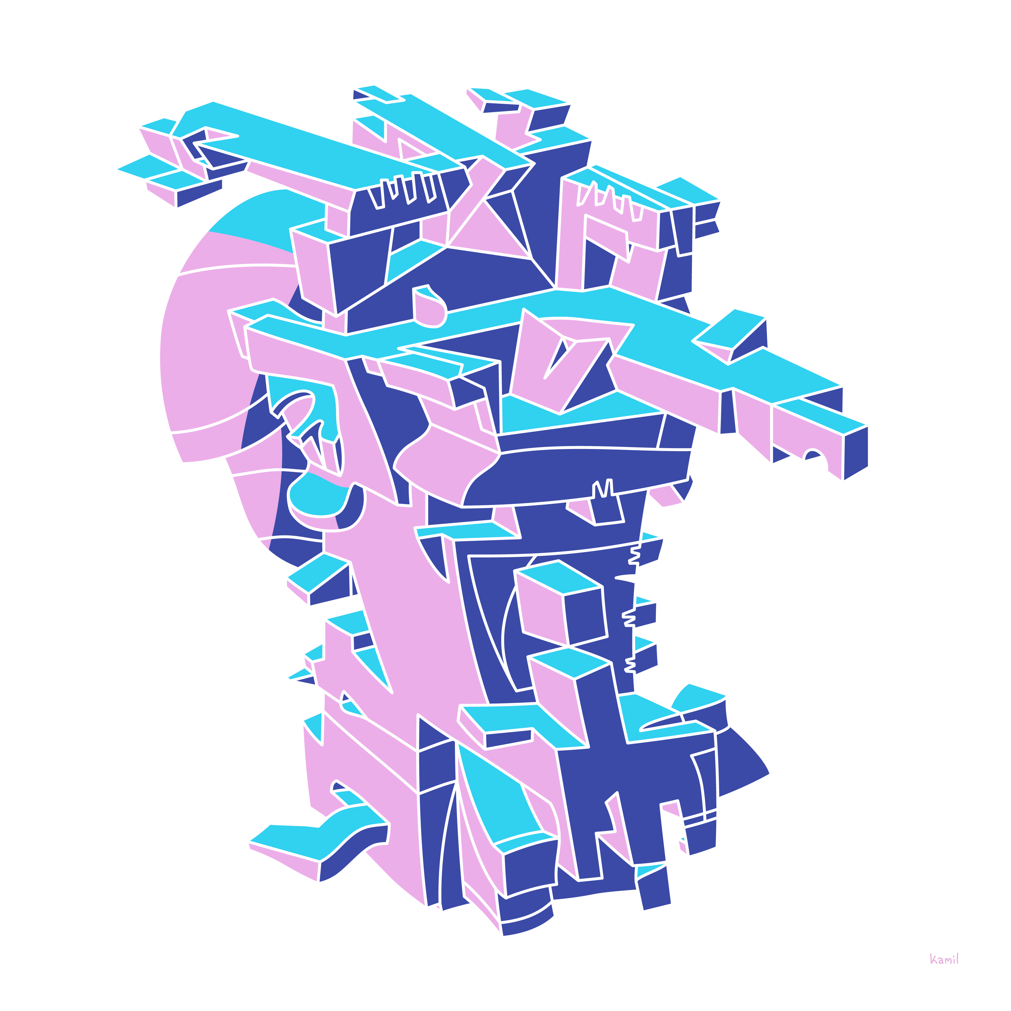 Illustration – Spatial Shapes – No 06 – (pinkblue version)