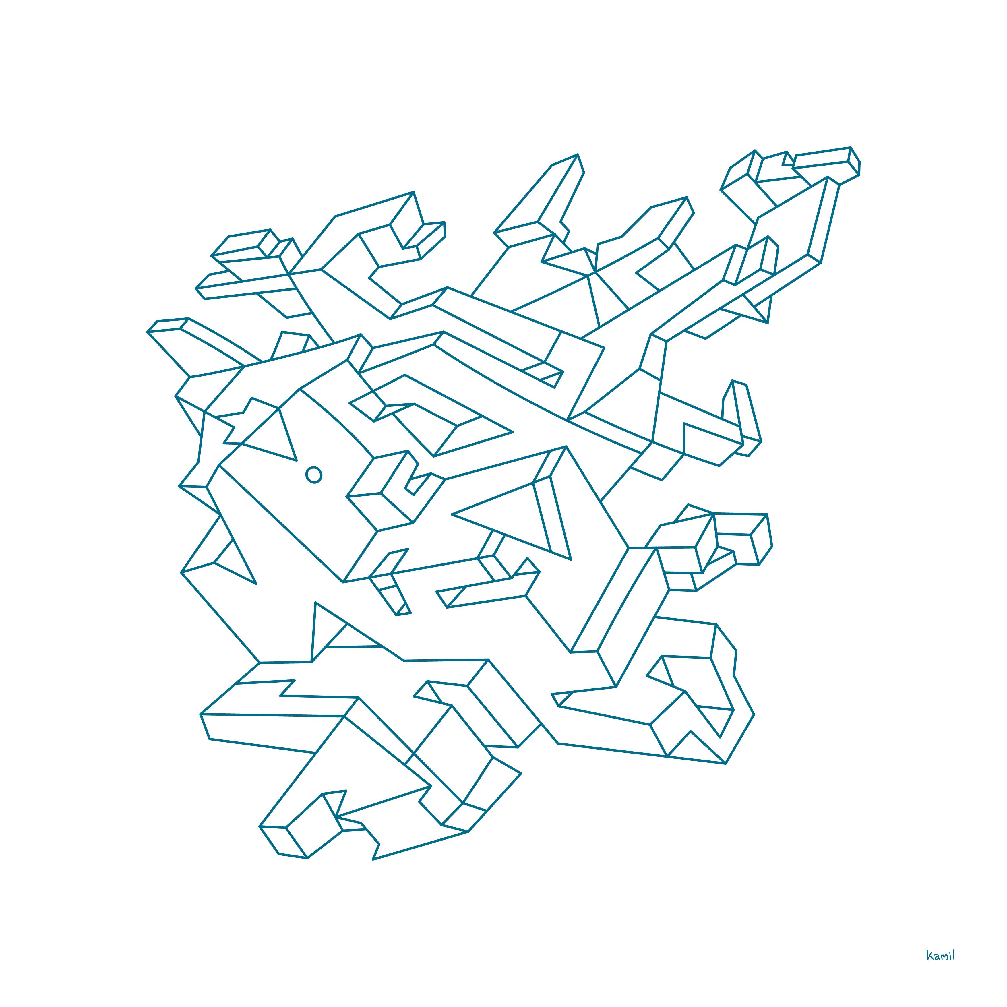 Illustration – Spatial Shapes – No 07 – (outline version)