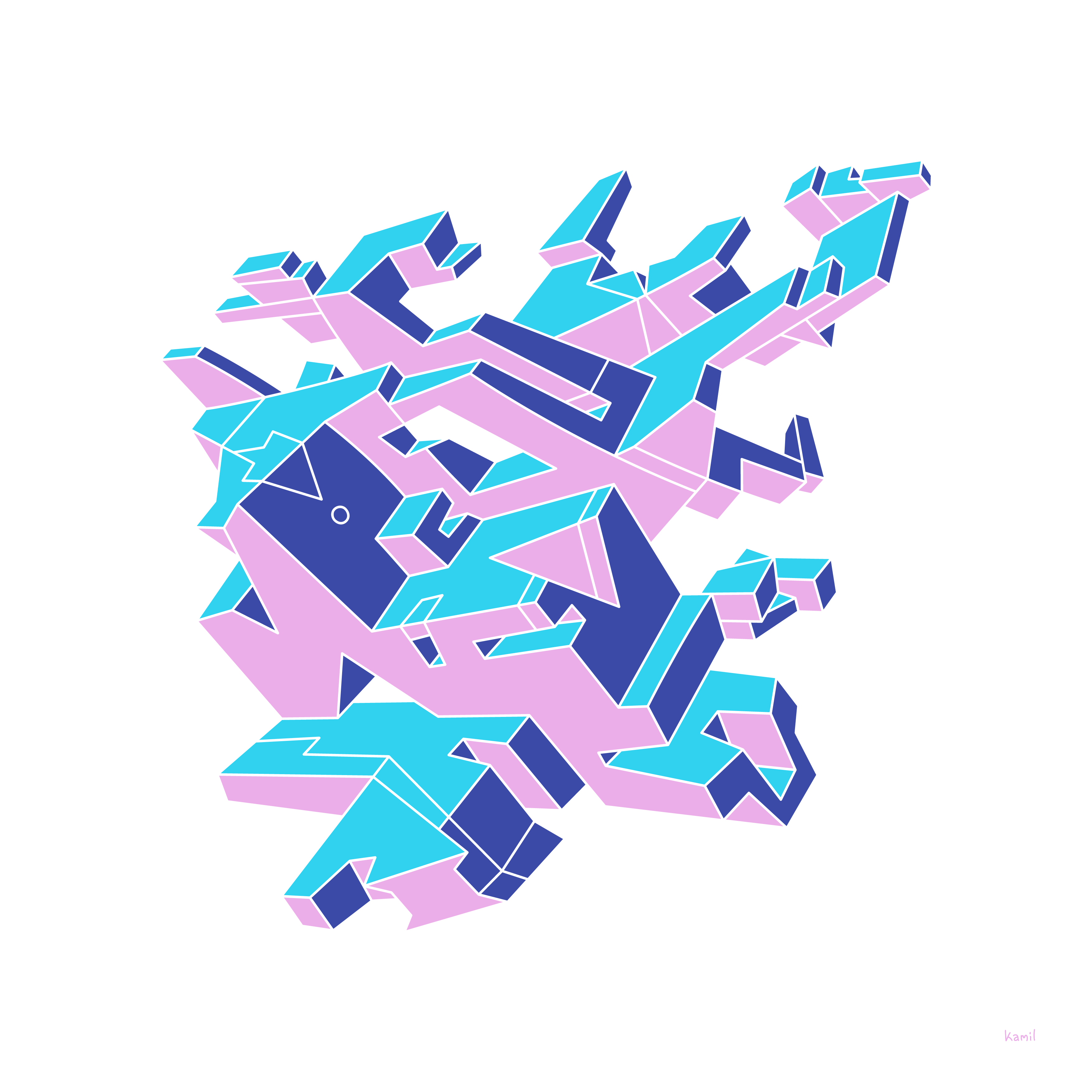 Illustration – Spatial Shapes – No 07 – (pinkblue version)