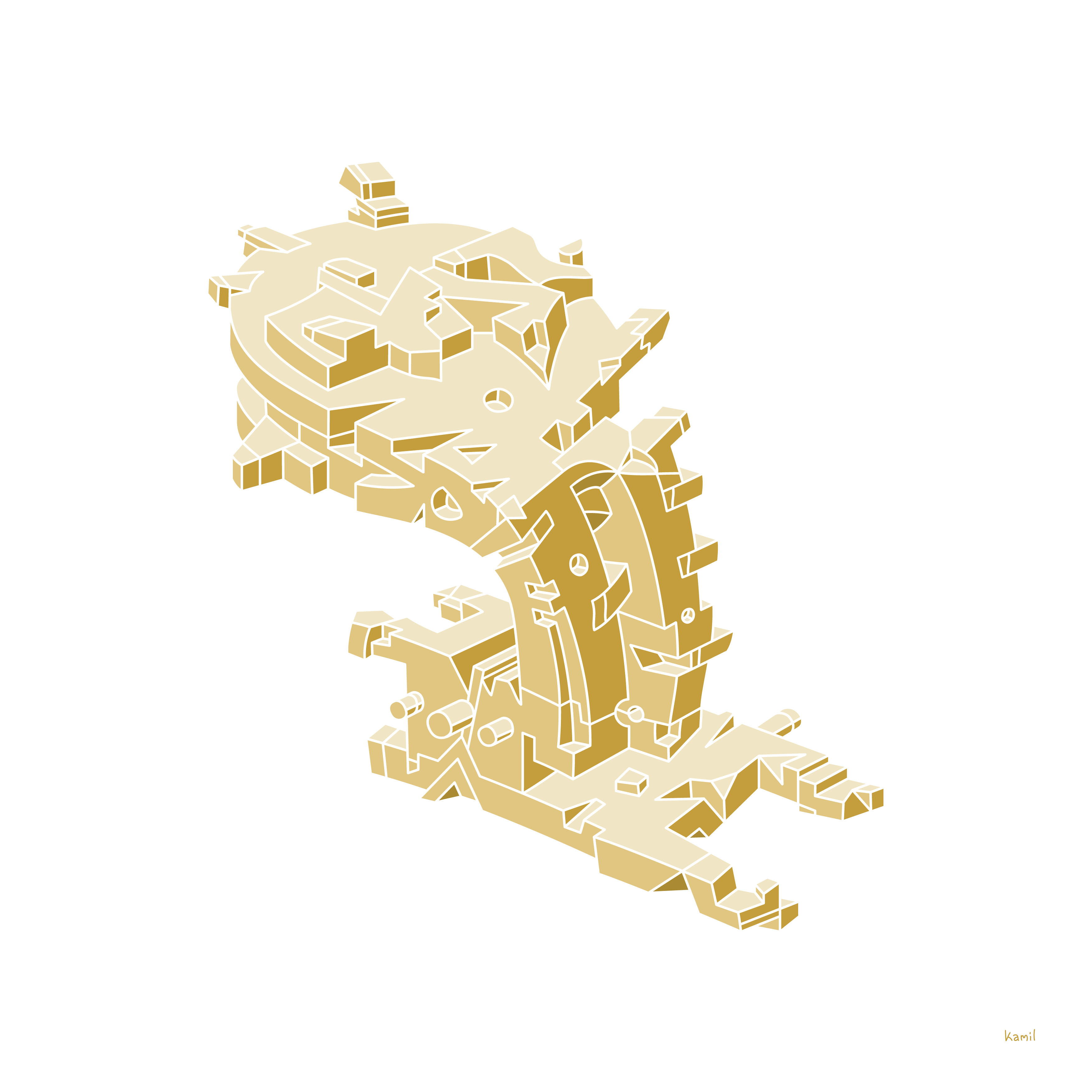 Illustration – Spatial Shapes – No. 1 (golden version)